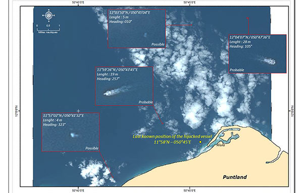 Identification of vessels in the Area of Interest using Pléiades satellite data
